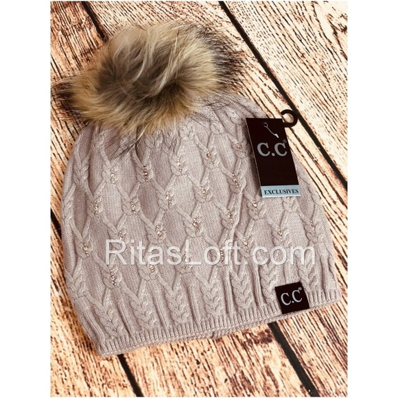 C.C Beanie Black Label Crystal Raccoon Fur Pom Hat 1b200db3698